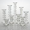 Timo sarpaneva, a 9-piece set of 'festivo' glass candlesticks, iittala.