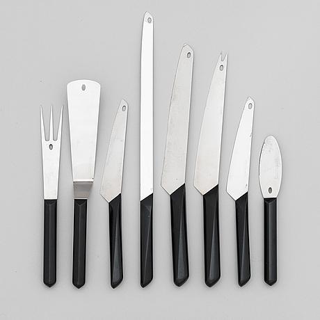 """Tapio wirkkala, knivar och bestick, 8 delar, """"finnpoint"""" tillverkare hackman/ sorsakoski, 1960-tal."""