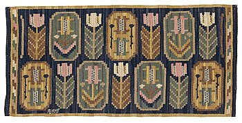 "196. Märta Måås-Fjetterström, a textile, ""Medaljongerna"", flat weave, ca 39,5-40,5 x 83 cm, signed AB MMF."