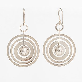 "Tapio Wirkkala, A pair of sterling silver earrings ""Hopeakuu"". Westerback, Helsinki 1971."