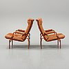 """Bruno mathsson, a pair of """"ingrid"""" easy chairs, for dux."""