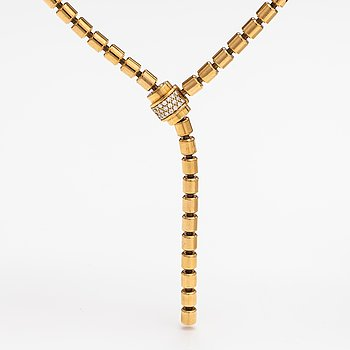"""Piaget, An 18K gold necklace """"Possession"""" with diamonds ca. 0.30 ct in total. Marked Piaget E48931."""