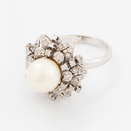 Pearl and eight-cut diamond cocktail ring.