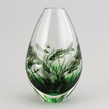 Edward Hald, glass vase, Orrefors, 1987.