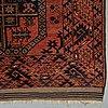 A carpet, antique / semi-antique ersari, ca 350 x 254 cm (as well as 6 cm flat weave at the ends.