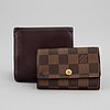 Louis vuitton, a wallet and a keycase.