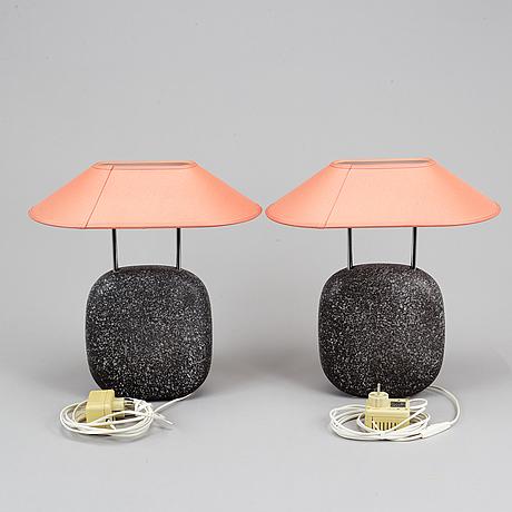 Lars bessfelt, a pair of 'hanö' ceramic table lights, ateljé lyktan, åhus, 1985.