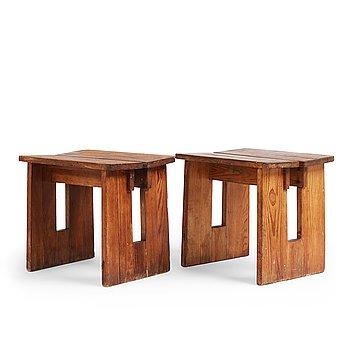 "314. Axel Einar Hjorth, two pine ""Skoga"" stools, Nordiska Kompaniet, Sweden 1930's."