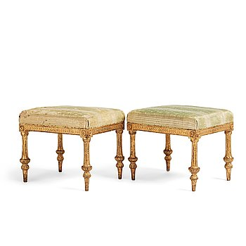 70. A Royal pair of late Gustavian stools by,Erik Öhrmark and Pehr Ljung after design by Louis Masreliez, late 18th century.