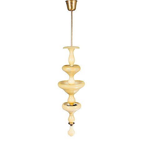 Paavo tynell & gunnel nyman, a 1930s glass pendant light, taito, finland.