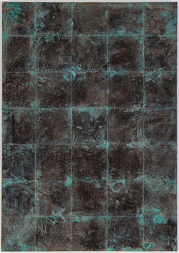 Anders widoff, mixed media mounted to acrylic glass signed and dated 1984 on verso.