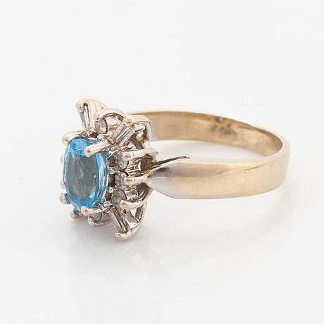 White gold topaz and diamond ring.