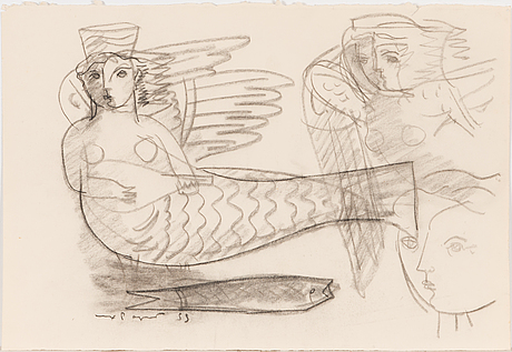 Max papart, charcoal on paper, signed and dated -55.