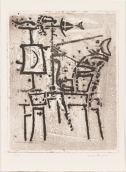 Max Papart, etching, 1971, signed and marked essai.