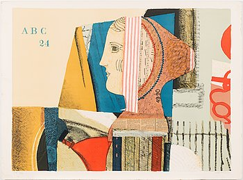 Max Papart, Max Papart, lithograph and collage with embossing, 1980, signed and marked E.A. 2/10.