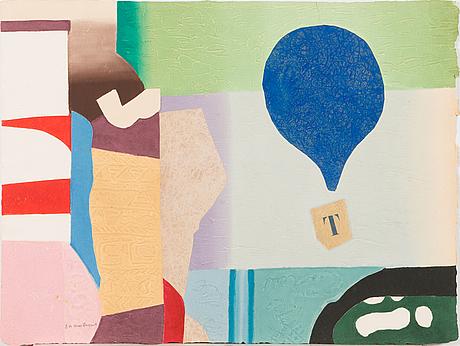 Max papart, carborundum och kollage med reliefprägling, 1976, signerad och märkt ea.