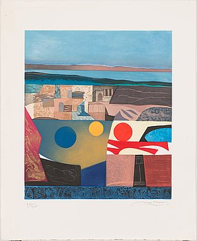 Max Papart, carborundum and aquatint, 1979, signed and marked EA 9/15.