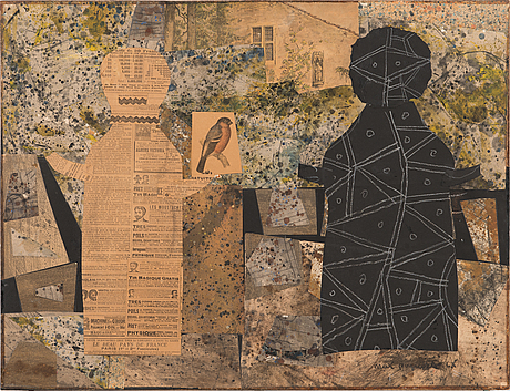 Max papart, collage, 1960, signed.