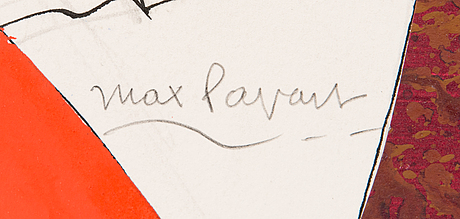 Max papart, drawing and collage, 1985, signed.