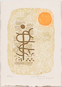 Max Papart, etching in colour, 1977, signed and marked essai.