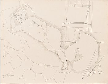 Max Papart, ink on paper, signed and dated -54.