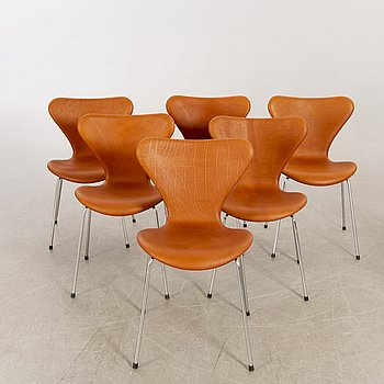 "Arne Jacobsen, chairs 6 pieces, ""Sjuan"" Fritz Hansen. Denmark."