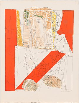 Max Papart, lithograph and collage, 1970, signed and numbered 44/50.