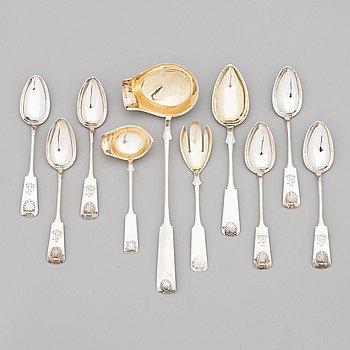 Cutlery set, 10 pcs, silver (813), Mussel, Finnish hallmarks, Helsinki, Salo and Hämeenlinna 1919-32.