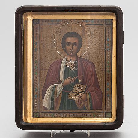 A late 19th century russian icon in kiot.
