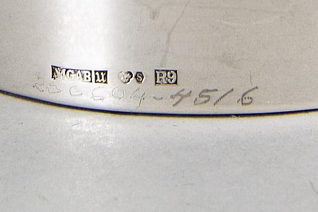 A pair of 20th century swedish sivler candle sticks mark of e löfman uppsala 1967, height 13 cm.