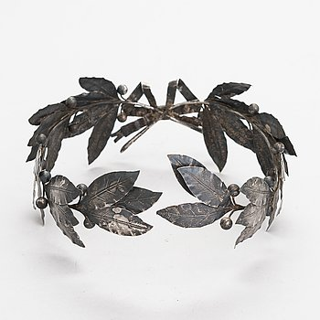 A 1930s silver laurel wreath, maker's mark of J.A.Tarkiainen, Vyborg.