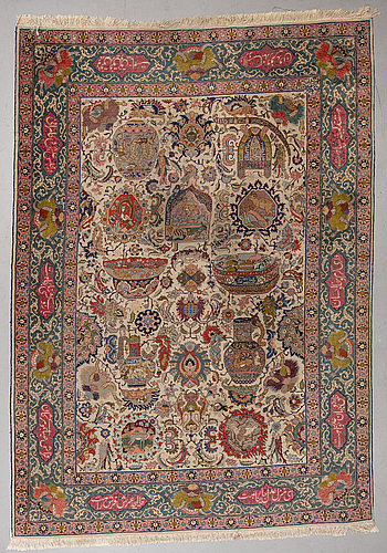 A carpet, a semi-antique tabriz figural, ca 354,5-362 x 250,5-258 cm.