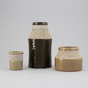 Hertha Bengtson, a set of three stoneware vases for Rörstrand.