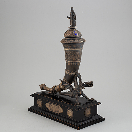 A silver and enamel trophy, a dragsted, copenhgen, denmark, 1904.
