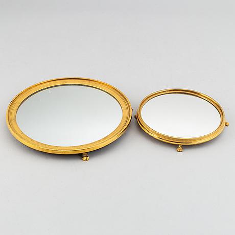 Spegelplatåer, två stycken, empirestil, 1900-tal.