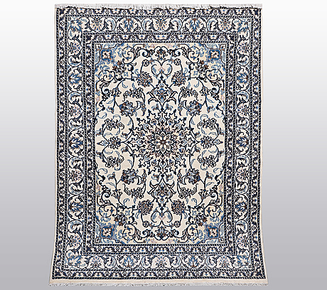 A rug, nain, part silk, sk 9 laa, ca 209 x 146 cm.