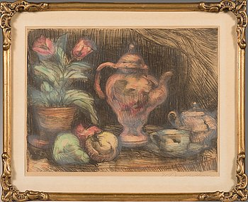 Jalmari Ruokokoski, color etching, signed.