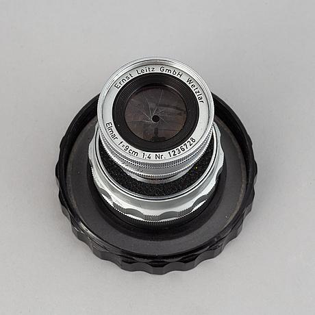Leitz wetzlar, camera lense, elmar f=9 cm 1:4, no. 1236728.