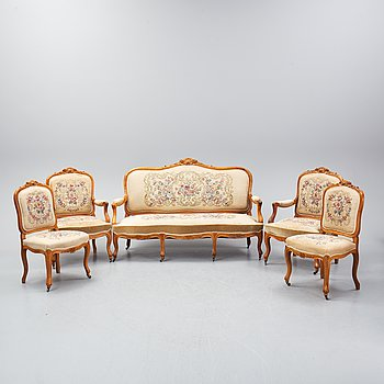 A set of sofa, two armchairs and six chairs, Louis XV-style, ca 1900.