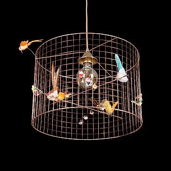 Mathieu Challieres, a ceiling lamp / bird lamp, Petite Volière.