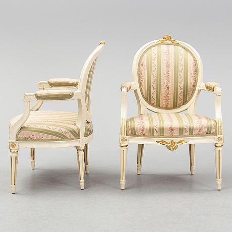 A pair of gustavian armchairs, 1780's.