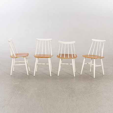 """Chairs 7 pieces, """"fanett"""", ilmari tapiovaara, edsbyverken, 1900-talets andra hälft."""