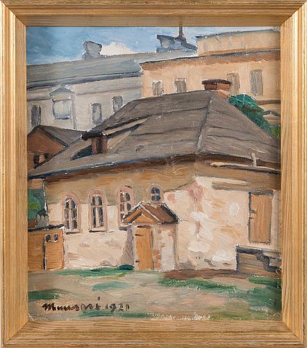 Janne muusari, olja på pannå, signerad och daterad 1920.