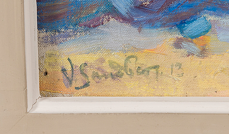 Tuntematon taiteilija, öljy kankaalle, signeerattu v. sandberg ja päivätty -13.