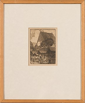 Frans Nyberg, etching, signed on plate.