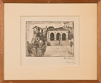 Kosti Meriläinen, etching, signed on plate and signed and dated-22 in pencil.