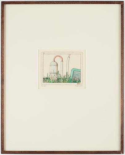 Sten eklund, drypoint etching with watercolour, 1971, signed pt iii/v.