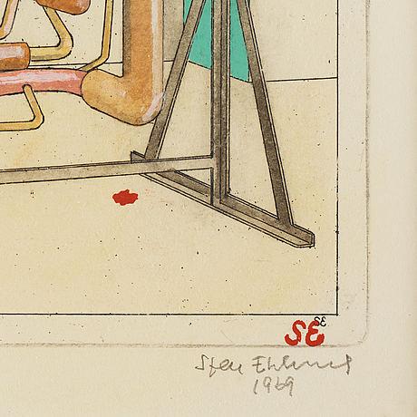 Sten eklund, akvarellerad etsning, 1969, signerad ap.