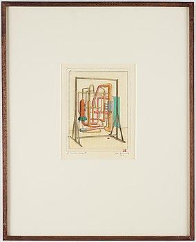 Sten Eklund, etching with watercolour, 1969, signed AP.
