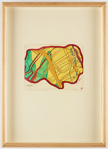 Sten eklund, etching with watercolou, 1971, signed pt.